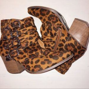 Beast Fashion Buckle Animal Print Bootie